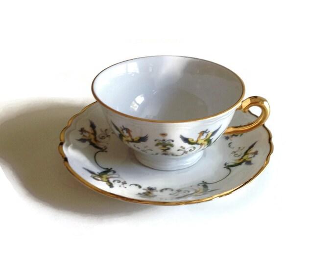 Richard Ginori Italian Porcelain Teacup with Peacocks