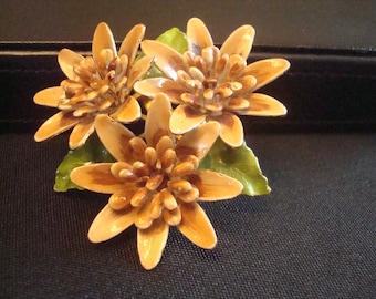 Enamel 3 flower brooch with green leaves