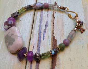 Greens and purples semiprecious stone bracelet
