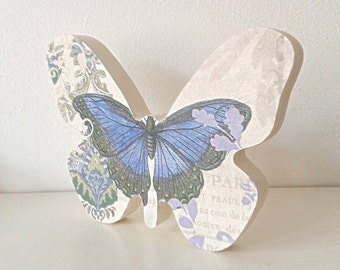 Butterfly, freestanding blue and lilac freestanding wooden butterfly