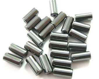 Vintage Gray Hematite or Glass Cylinder Beads 8x3mm (24)