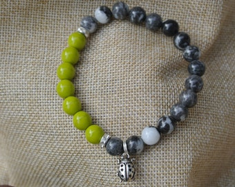Bracelet Chartreuse Green and Jasper handcrafted beads