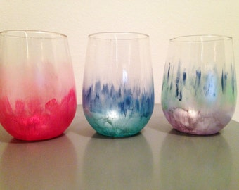 Hand painted water color stemless wine glass in customized colors