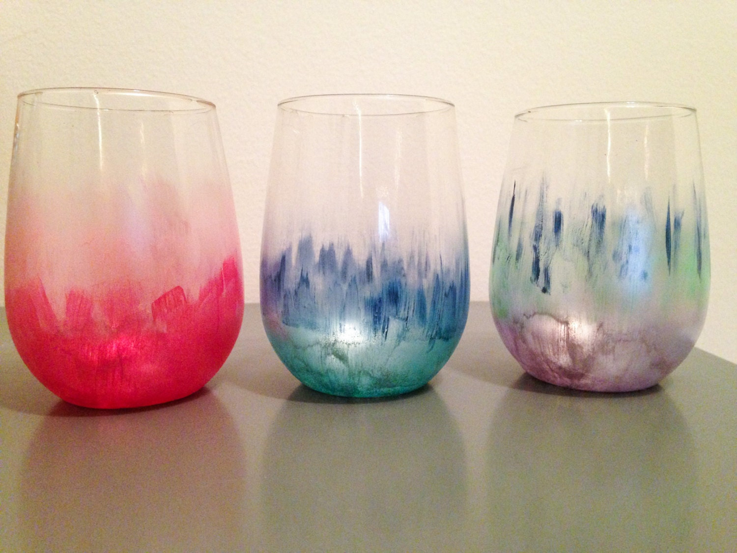 Hand painted water color stemless wine glass in customized for Painted stemless wine glasses