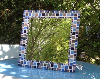 Large Square Mosaic Wall Mirror in shades of Blue / Purple Bathroom