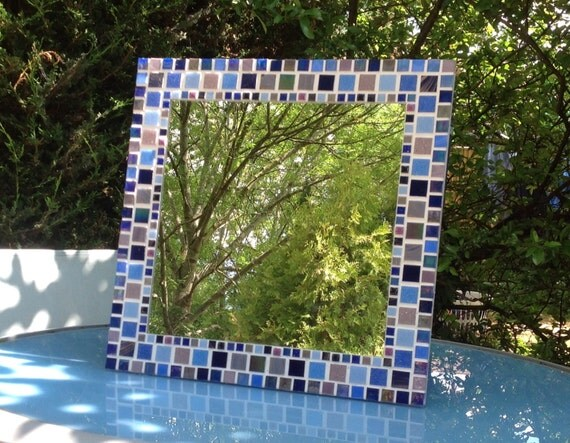 Large square mosaic wall mirror in shades of blue purple for Big square wall mirror