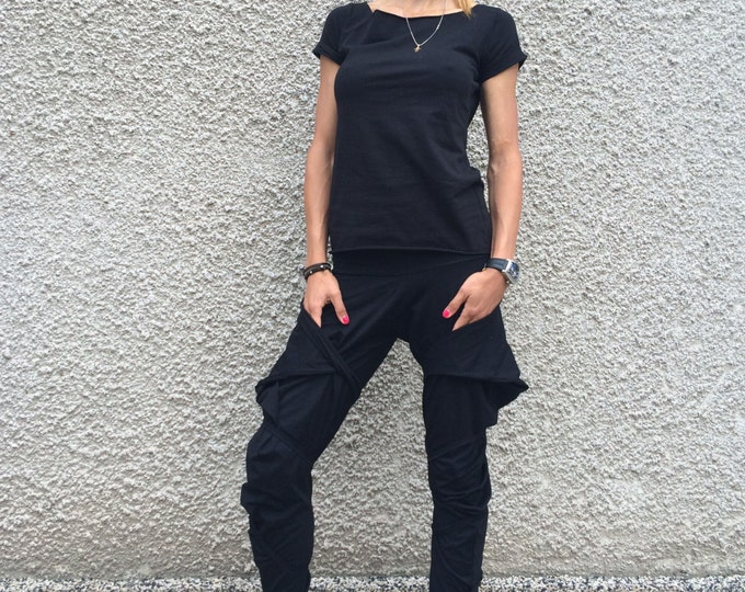 Women Black Pants, Extravagant Cotton Trousers, Multi Functional Pants, Plus Size Clothing, Loose Pants by SSDfashion
