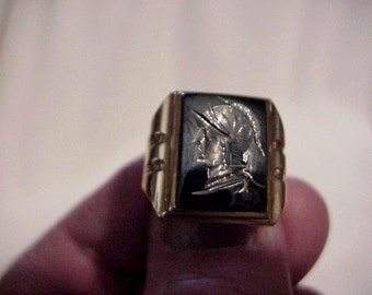 Beautiful 10K Rose Gold Man's Ring with Hematite Carved Knight