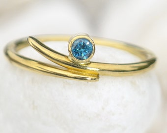 Blue Diamond Accent Ring in 18k Yellow Gold - Eco Friendly - Handmade to Size