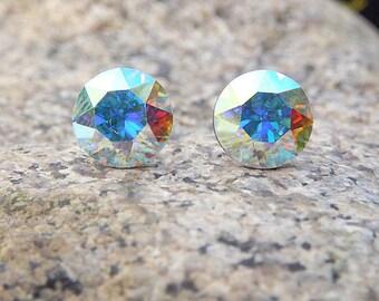 Aurora Borealis Stud Earrings Swarovski Crystal Earrings Rainbow Sugar Sparklers Studs Rhinestone Studs Gift For Her Mom