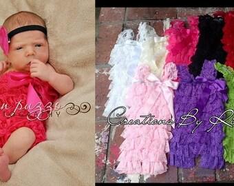 Newborn Lace Petti Romper (Pink)