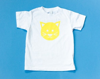 Organic Cotton Cat T-Shirt in White with Yellow Print / Size 2