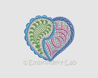 Paisley heart 0001 applique - digital design for embroidery machine