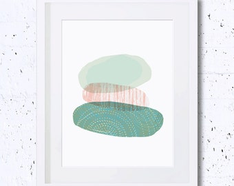 Minimalist, Abstract, Green, Mint, Art Print, Printable Art, Downloadable, Minimal Art, Modern Art, Home Decor, Wall Decor, Nursery, Stones