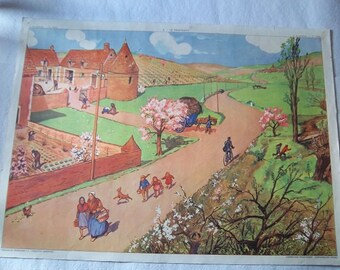 Vintage French school poster, double sided from 1950 – education, école, children, poster, affiche Rossignol, season,winter,spring