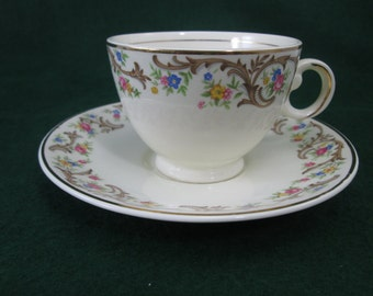 Vintage TAYLOR, SMITH, and TAYLOR  Floral Brown Scrolls Gold Trim1631 Sheridan - Cup & Saucer