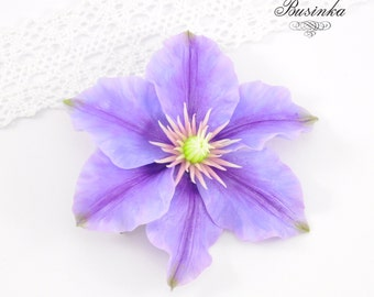 Purple Clematis flower Brooch & Hair Clip * clematis jewelery * flower brooch * purple clematis * Clematis Brooch * Clematis Hair Clip