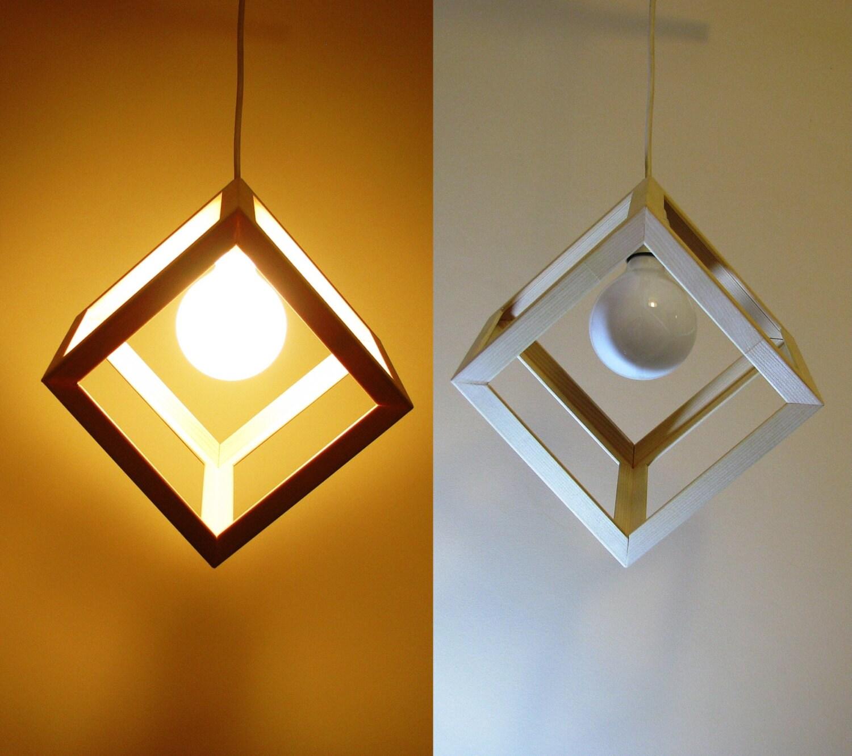 wooden cube pendant light hanging cube lamp by dreamlightforyou. Black Bedroom Furniture Sets. Home Design Ideas