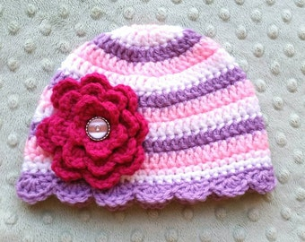 Baby Flower Beanie, pink and purple baby hat, large flower hat, stripes baby hat, made to order