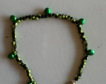 Olive and black anklet with bells