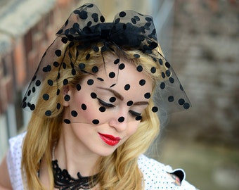 Fascinator Black Polka Dot Veil