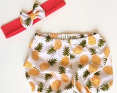 Pineapple Print Baby Bloomers Bubble Shorts and Hot Pink Bow Headband Summer Outfit Set Knit Fabric