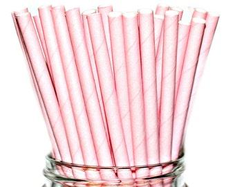 SOLID PINK STRAWS- Paper Straws Baby Bridal Wedding Shower-  (25)
