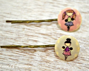 cute and quirky wooden printed button hair slides, bobby pins, barrettes, hair clips. Quirky girl printed on each button. Set of 2.