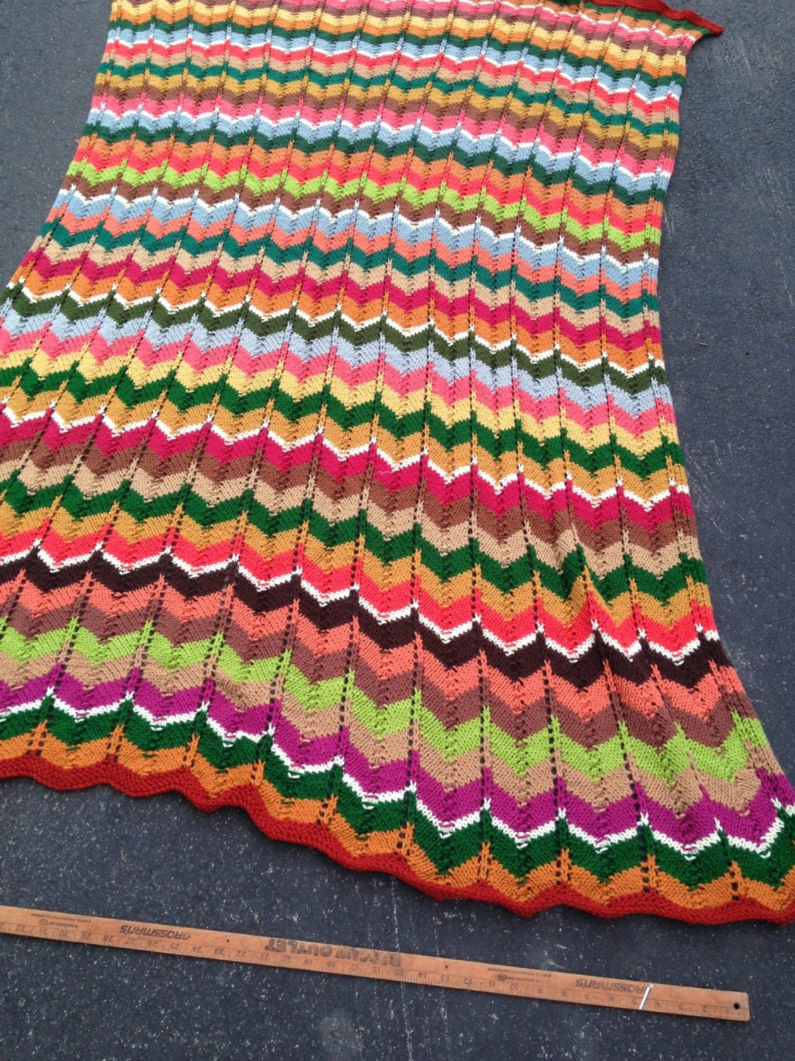 Knitted Chevron Afghan. 50x72. Soft Yarns. Multi-colored.