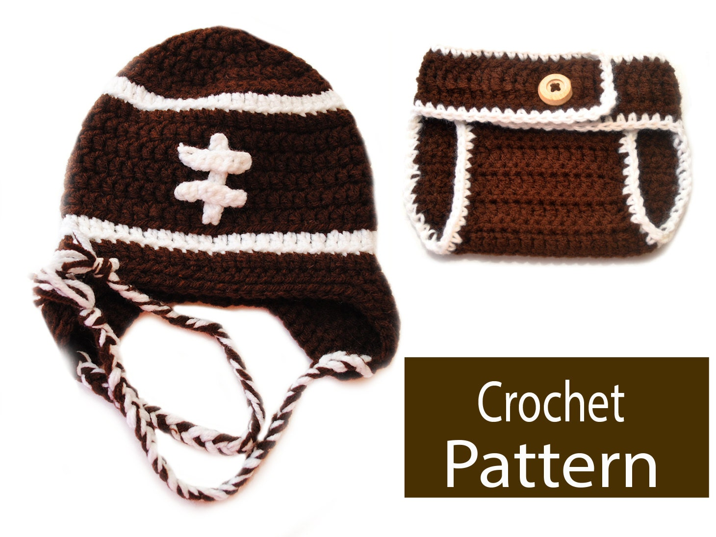 Free Crochet Pattern Football Diaper Cover : Pattern Football Hat & Diaper Cover Set B1110/DC116 photo