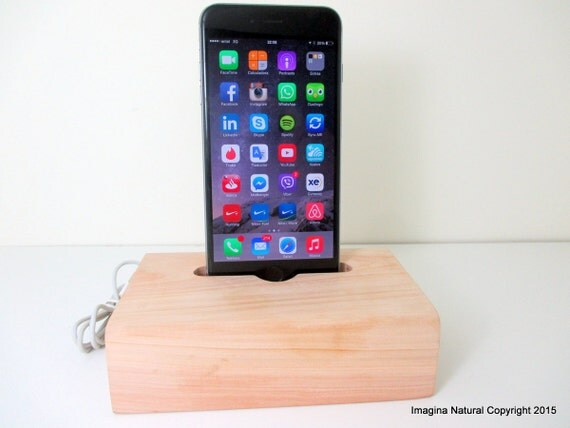 Cypress Wood iPhone 6 Stand, Wooden iPhone 6 Docking Station, Cypress Chilean Incense Wood iPhone 6 Dock Wooden, Cable holder Charger