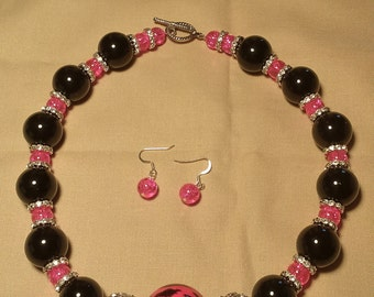 Handmade pink and black necklace