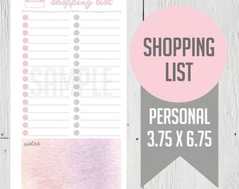 "Printable Shopping List - Personal Planner, Filofax, Kikki K, 3.75"" x 6.75"""