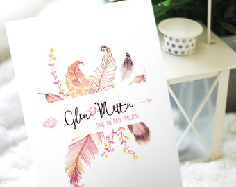 Feathers Save the Date Printable, Tribal Feathers rustic Save the Date, modern save the date, Save the Date DIY Printable Digital