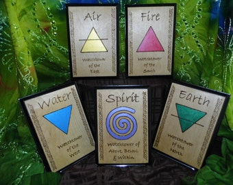 Set of 5 Elemental Alder Wood Plaques: Earth, Air, Fire, Water, and Spirit (with stands)