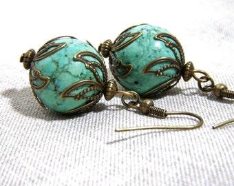Turquoise Earrings, Antiqued Brass, Filigree Brass Earrings, 16mm bead, E182