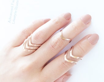V Shape Ring 18K Rose Gold Ring Adjustable Open Ring Mutifinger Ring Stack Ring Knuckle Ring Midi Ring Men Women Ring Simple Ring Ideal Gift