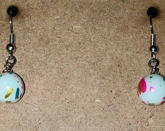 Rainbow Splatter Bead Earrings