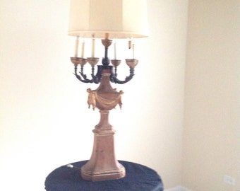 French Country Marbro Lamp Carved Wood with gilding details wrought iron Candlelabra and double  socket light
