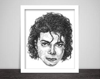 Scribbled Michael Jackson - Poster