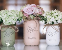 Painted Mason Jars  Distressed Mason Jars  Rustic Decor  Painted French Country Cottage Decor  Rustic Wedding  Wedding Centerpieces  Vases