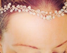 "Made To Order ""Kathryn"" Bridal Hairpeice Hair Accessory Wedding Forehead Hairband by Daisy Chains Collection"