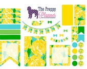 Lilly Pulitzer Inspired Weekly Set Up Yellow Floral Planner Stickers for Filofax, Kikki K, Erin Condren, ECLP   #LW69