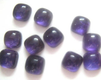 10-P Wholesale Lot Of  purple Amethyst 6X6 MM Cushion Shape Loose Gemstone Cabochon