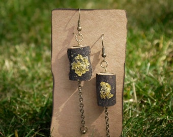 Dangle Wooden Earrings made from tree bark, Bronze Earrings, Handmade.