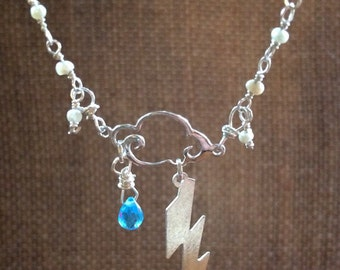 Stormy Nights Sterling Silver, Pearl and Blue Topaz Necklace