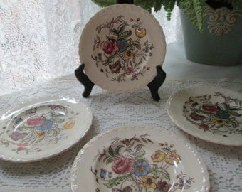 "6.5"" Salad Plates - Set of 4 Vintage Vernonware 'Mayflower', Hand Painted, California"