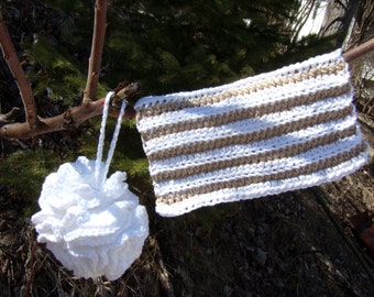 Handmade Cotton Facecloth and Bath Pouff