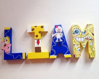 SpongeBob inspired letters ~Nursery wall name letters ~bedroom decor Personalized letters