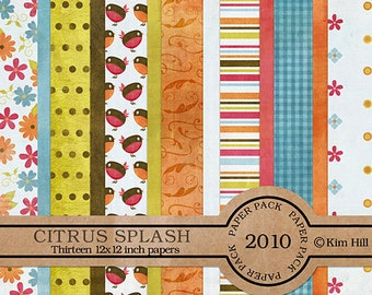 "Digital Scrapbook Papers - ""Citrus Splash"" summer digiscrap kit with bright colors, birds, flowers and flourishes for scrapbook layouts"